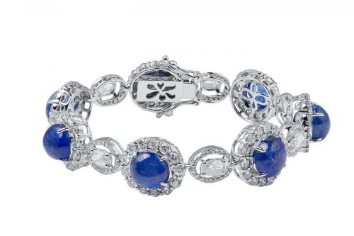 blue cabochon sapphire bracelet