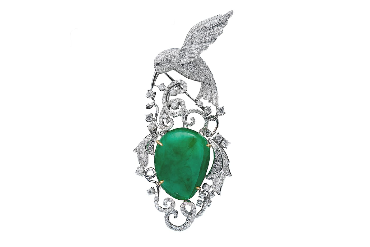 Jade Diamond Brooch