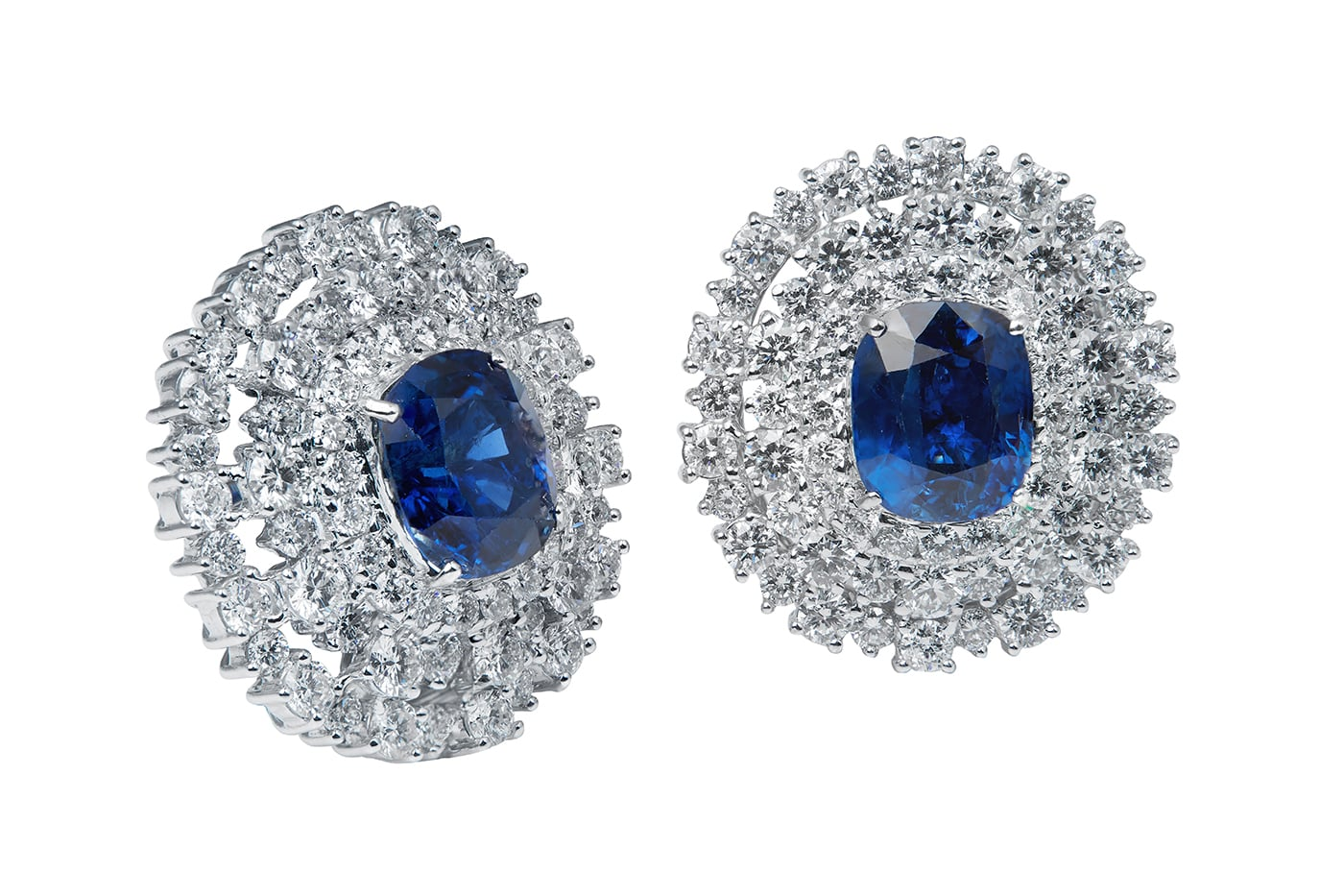 Peacock Blue Sapphire Earrings