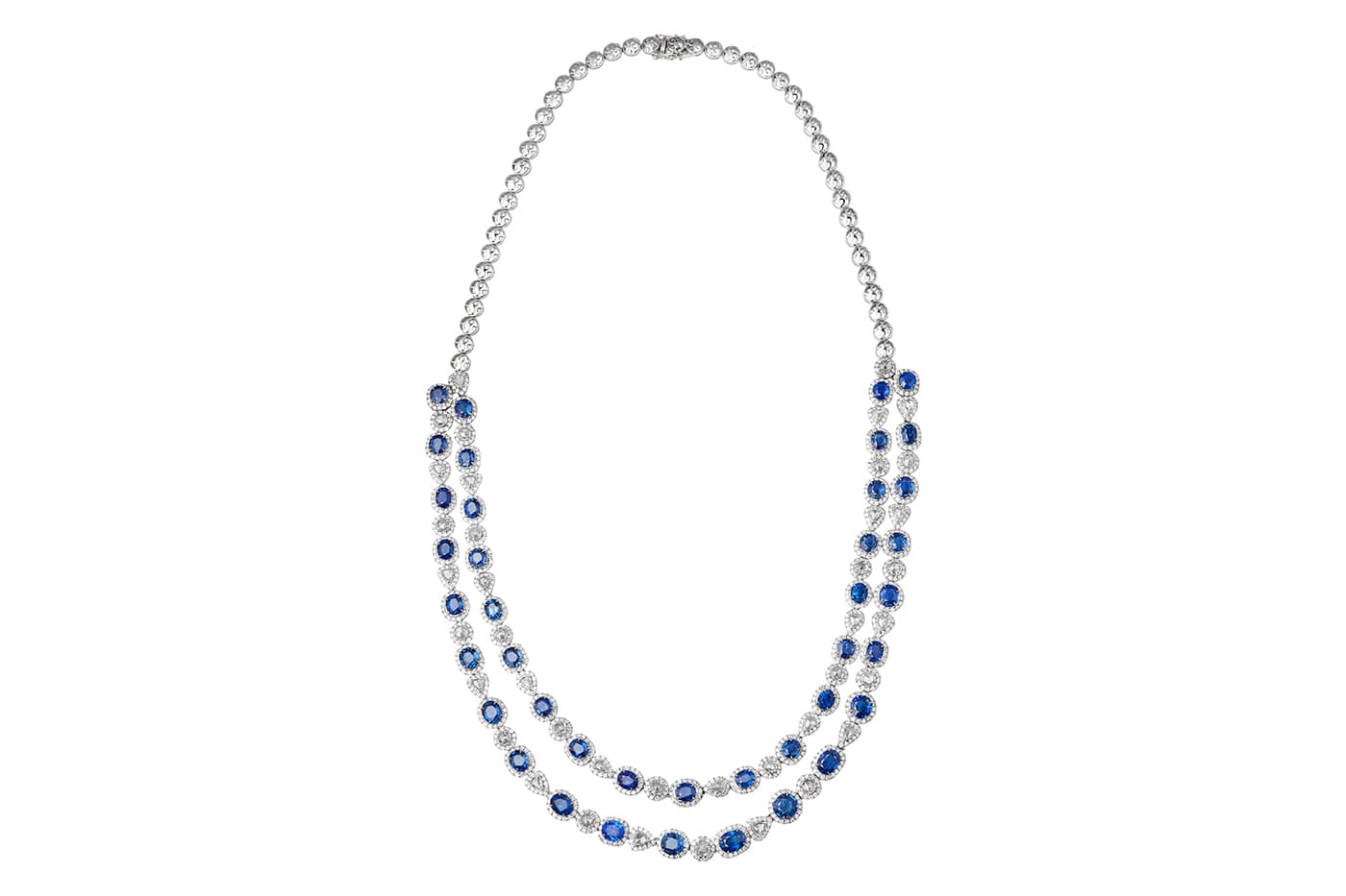 Peacock Blue Sapphire Diamond Necklace