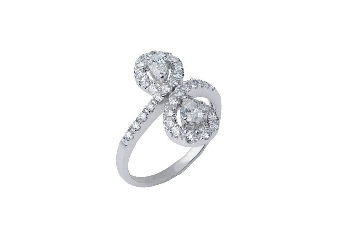 Infinity Pear and Round Diamond Ring