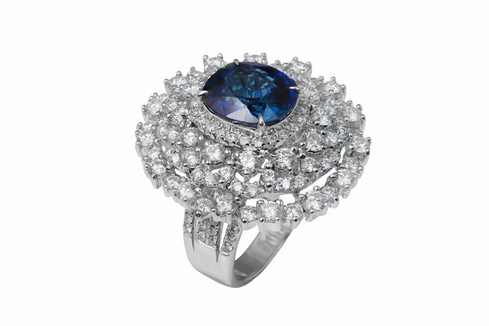 Unheated Peacock Blue Sapphire Diamond Ring