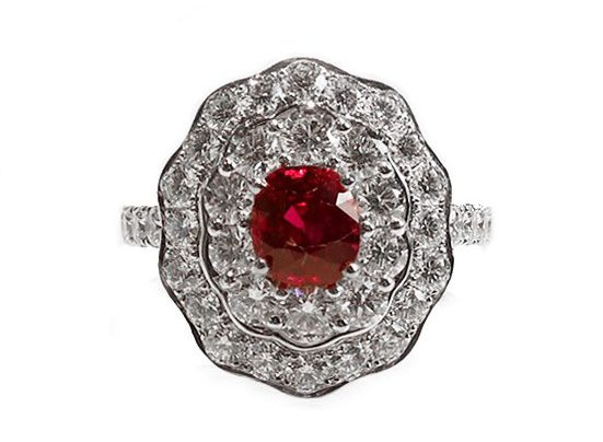Vivid Red Ruby Diamond Ring