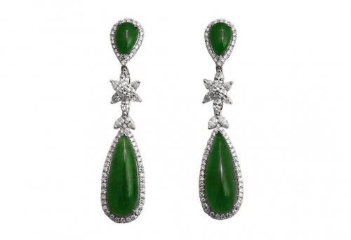 jadeite jade diamond earrings