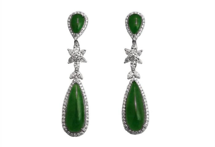jadeite jade diamond earrings