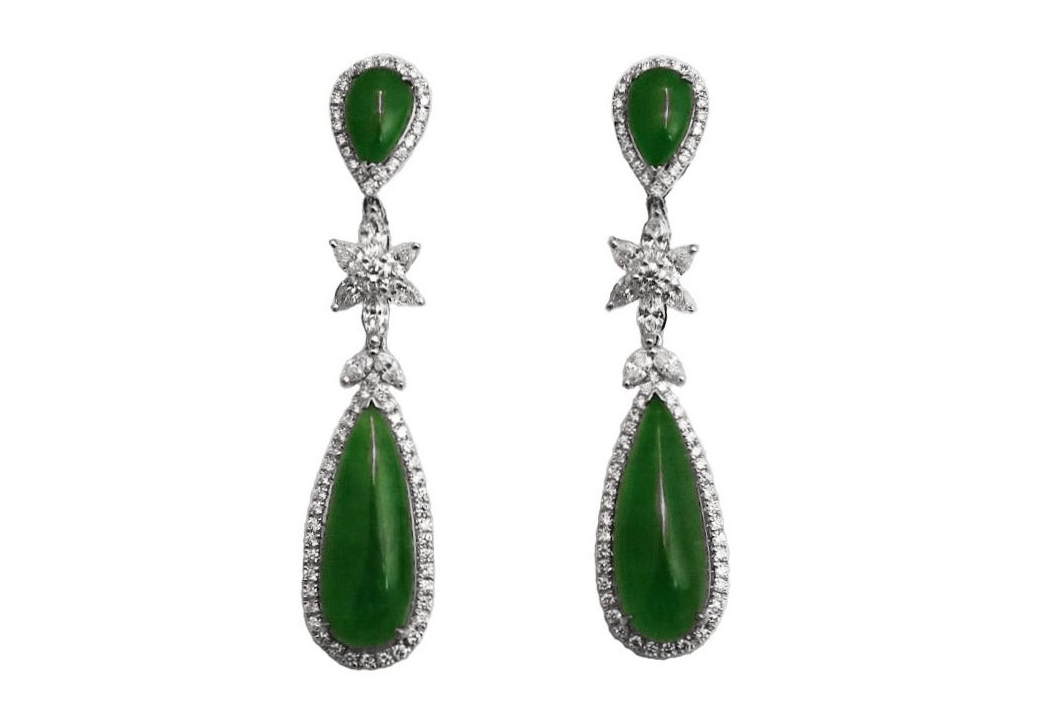 Imperial Green Jade Diamond Earrings