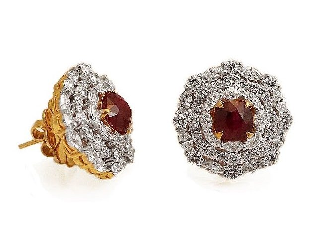 Intense Red Ruby Diamond Earrings