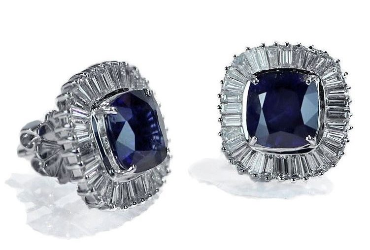 Royal Blue Sapphire Diamond Earrings