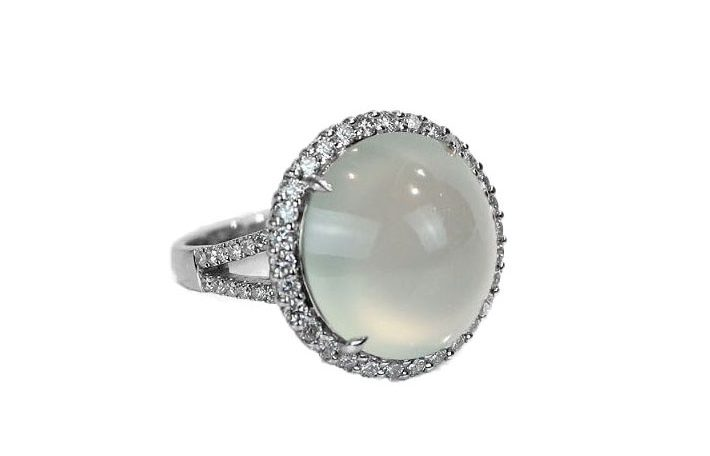 Cabochon Ice Jade Diamond Ring