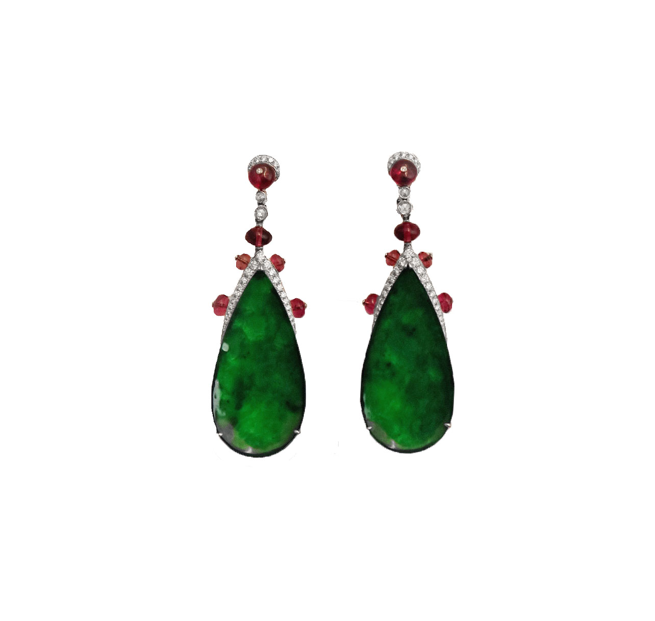 Imperial Jade with Rubellites Diamond Earrings