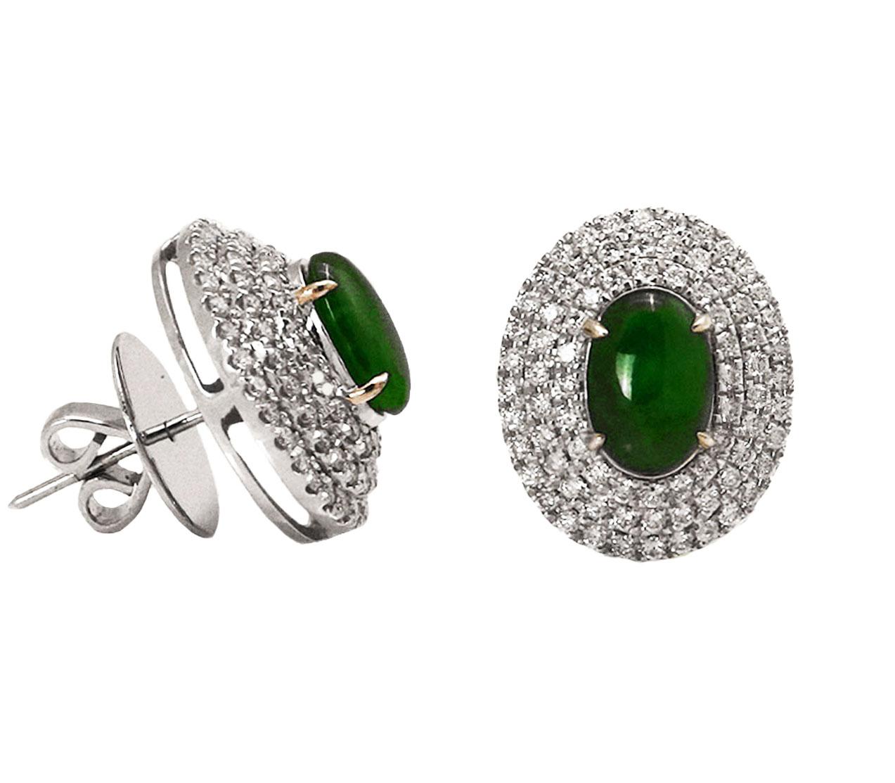 Cabochon Jade Diamond Earrings