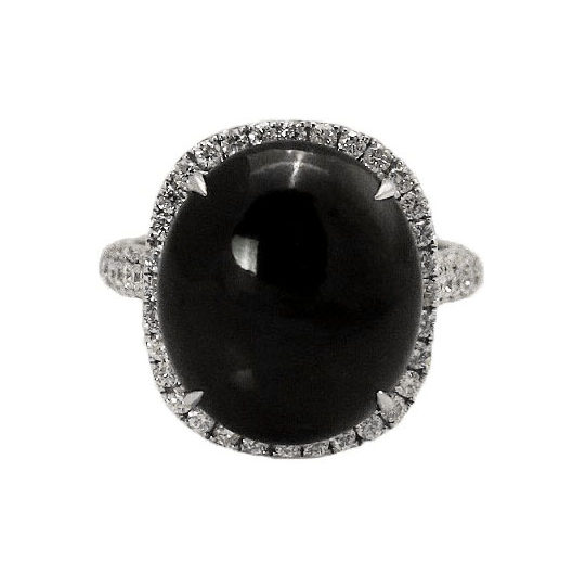Round Black Jade Diamond Ring
