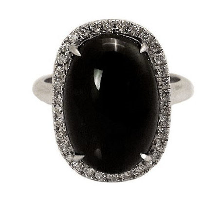 Oval Black Jade Diamond Ring