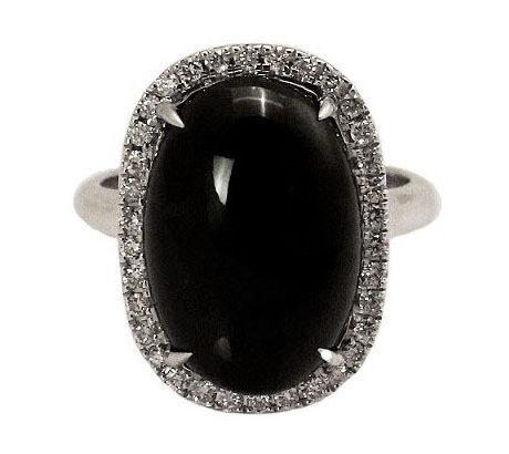 Oval Black Jade Diamond Ring