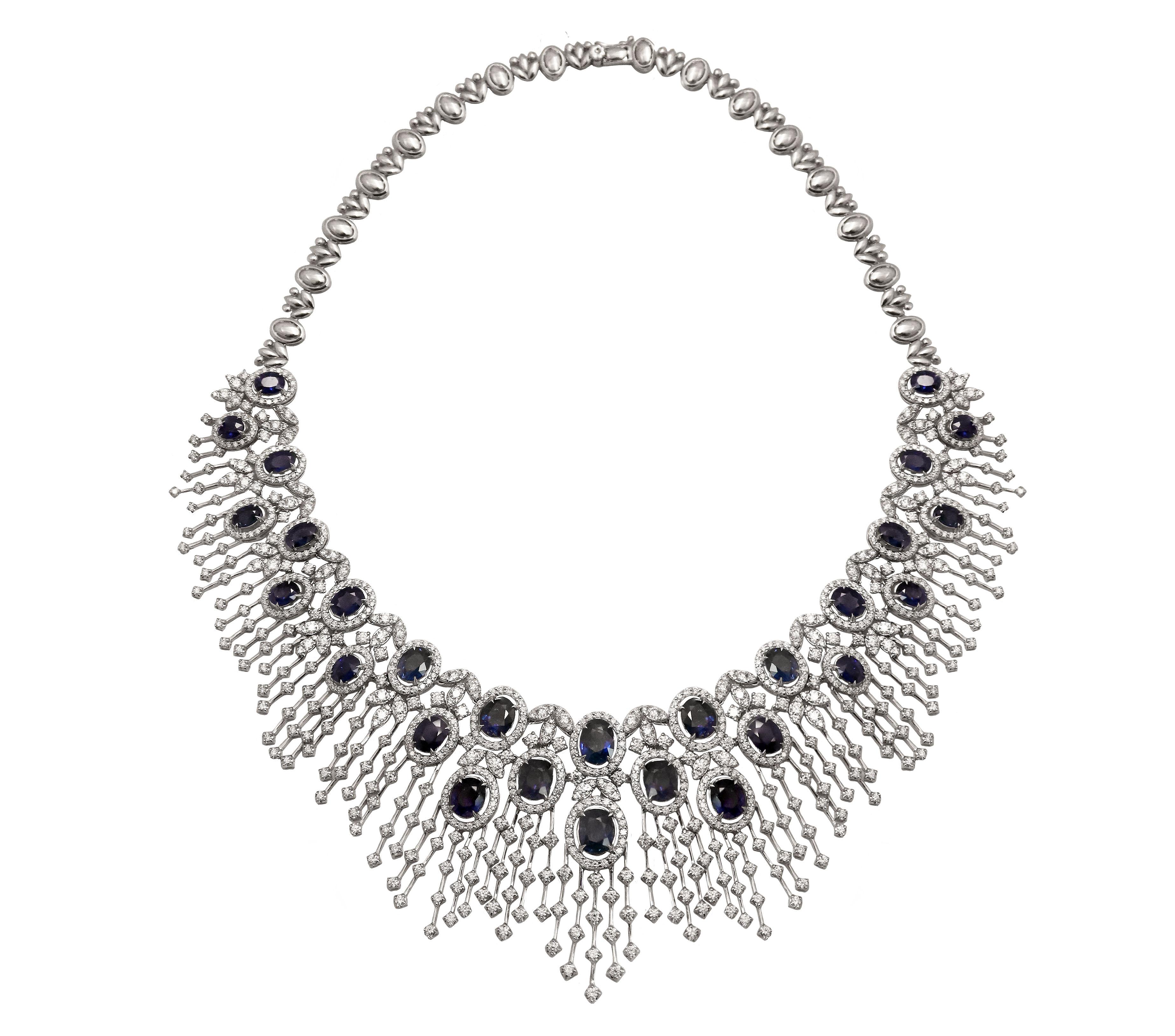 Blue Sapphire Diamond Necklace