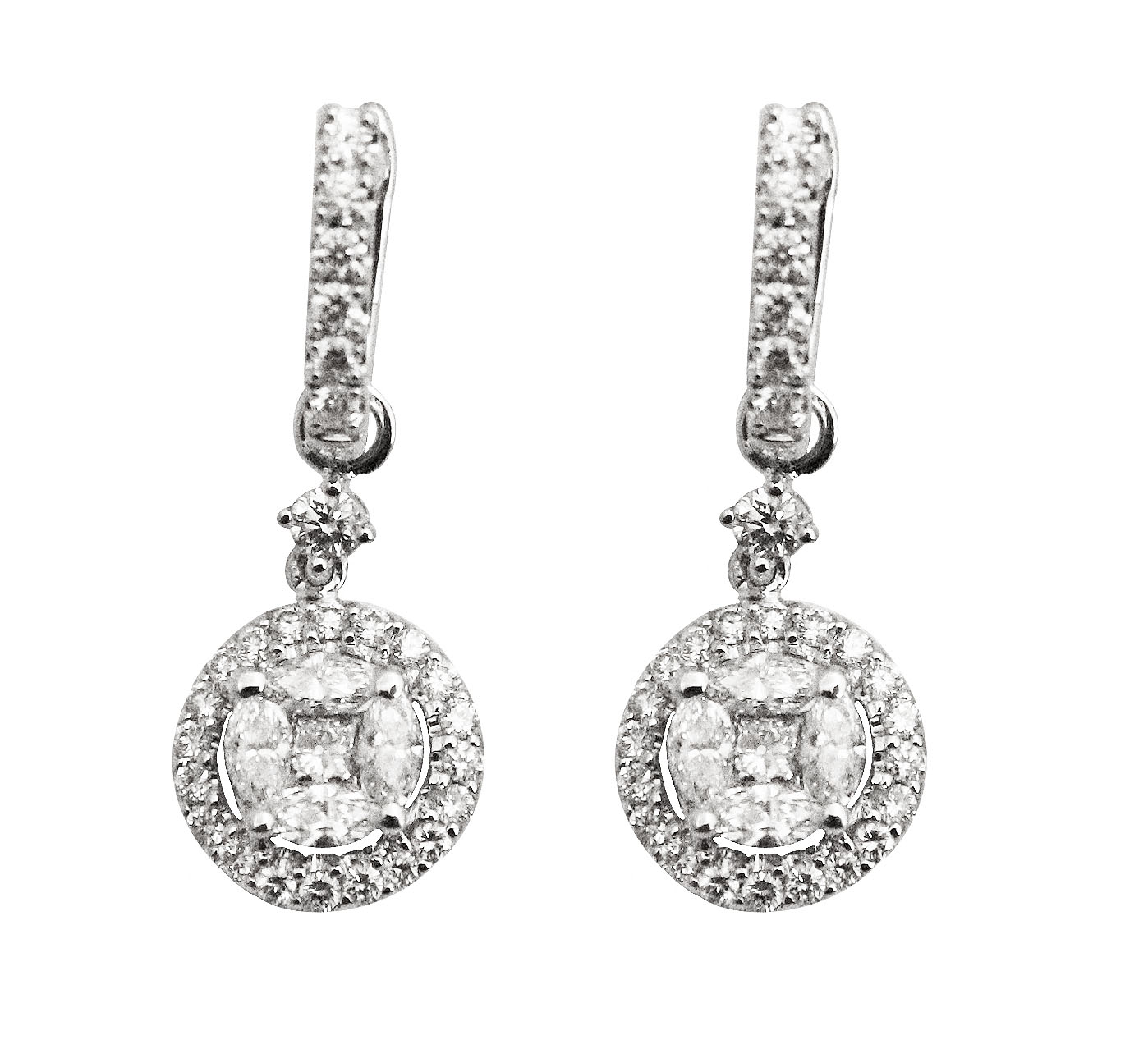 Compressed Diamond Drop Earrings